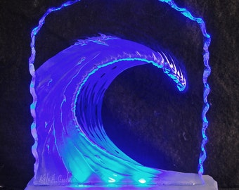 WAVE carved glass light LED