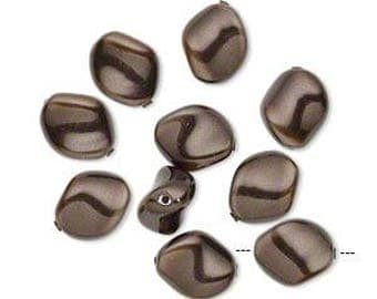 SALE Swarovski Crystal Deep Brown Curved Pearls (5826) 9x8mm 10 pcs