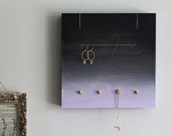 NEW - PERCH no3 Black+Lilac - jewelry holder rack display organizer hanger wood wall home decor modern minimal brass metal gradient ombre