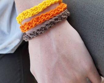 Crocheted Cotton Bracelet Cuff Women's Teen Handcrafted