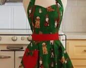 Apron Christmas Dogs on Green MAGGIE Retro Full Apron