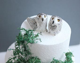 Snow Owl cake topper,Clay Owl cake topper,Winter Wedding Decoration,Snowy Owl wedding,Owls cake topper,Clay owl,Love Birds