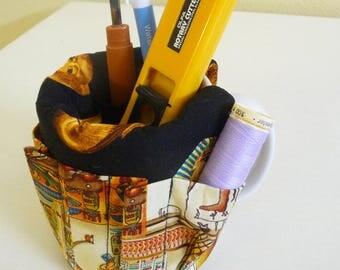 Egyptian Pharaohs Mug Organizer, Office Desk Organizer Cotton Fabric Mug Caddy uses a basic coffee mug