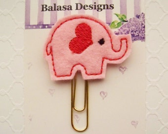 Pink Elephant Heart Valentine Planner Clip, Bookmark, Planner Accessory, Paper Clip