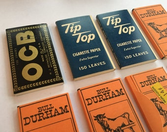 Lot of 8 vintage rolling papers OCB Tip Top Bull Durham