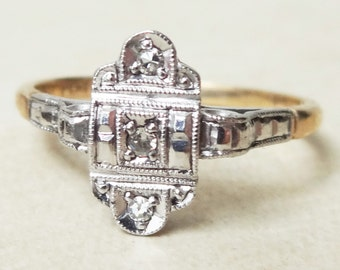 Art Deco Eastern Design Ring, Vintage 9k Gold, Platinum and Diamond Engagement Ring, Approx Size 7.75