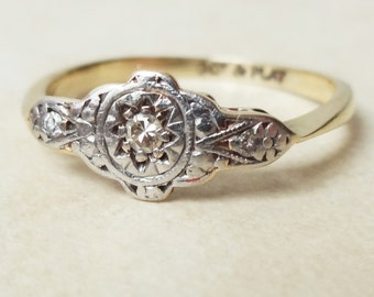 Art Deco Eastern Tribal Diamond Trilogy Ring, 9k Gold, Platinum and Diamond Engagement Ring Approx. Size US 6.25