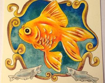 Fancy Goldfish Original Watercolor Painting