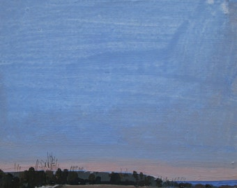 Dusk, Veterans' Day, Original Autumn Landscape Collage Painting on Panel, Ready to Hang,  Stooshinoff