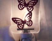 Handmade Coper Butterflies Night Light, Clear Fused Glass with Copper Cutout Butterflies, Handmade Home and Living