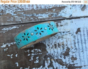 SALE- Custom Leather Cuff-Create Your Own--Word Cuff-Floral