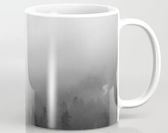Mug | Coffee Mug | Photo Mug | Mt. Ranier National Park Mug | 11oz 15 oz. | Made to Order | Mountains | Misty Pine Trees | Black White Photo