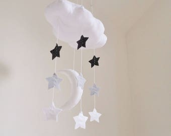 Baby Mobile - Cloud moon and stars nursery decoration in white and grey