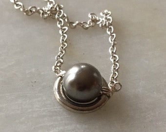 Single Pearl Necklace, Black Pearl Necklace, Pearl Necklace