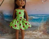 """SALE Bold Red Ladybugs on Bright Lime Background Strapless Dress Fits 14.5"""" Dolls Like Wellie Wishers and H4H"""