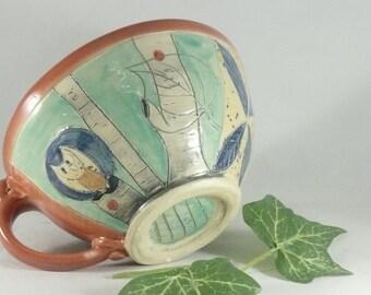 Handmade soup bowl with handle soup mug Latte cup with owl, Cappuccino Mug, Holds 24 ounces / Decorative Dish 677