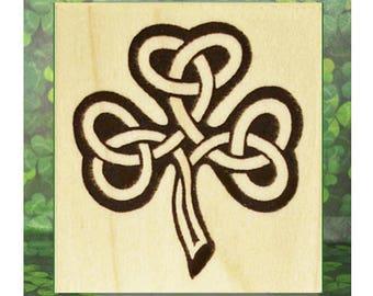 Knotwork Shamrock Rubber Stamp Celtic Ireland with option to add shamrock mini stamp #376