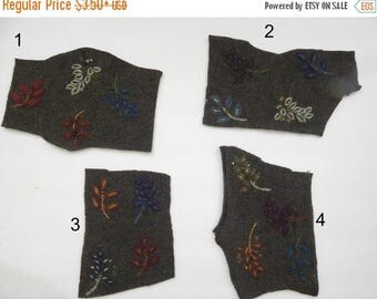 CLEARANCE - Wool leaves, embroidered leaves, wool fabric, leafy fabric, green wool fabric, applique, sewing