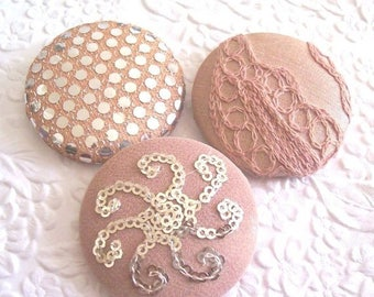 CLEARANCE - Peach buttons,  fabric covered buttons, sequin buttons, size 75 buttons