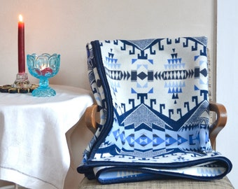 Wool Blanket Blues & Snowy White Native American Inspired Design Couch Throw