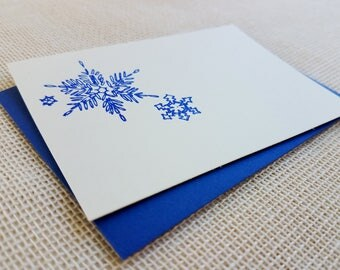 Letterpress Enclosure Card - Snowflakes