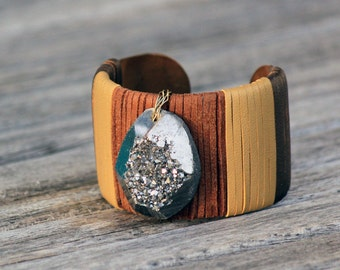 Modern Stones • Pyrite Chunk Drusy leather wrapped cuff bracelet - brown gold tan bronze - Druzy - textured chunky cuff 1.5 inch wide