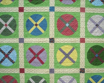 Patchwork Lap Quilt  - Handmade Wagon Wheel Quilt - Reproduction 19th Century Fabric
