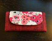 Cork Leather Wallet - Fabric Wallet - Slimline Cork Wallet - Floral Fabric Wallet - Eco Friendly Wallet - Sustainable Wallet - Womans Wallet