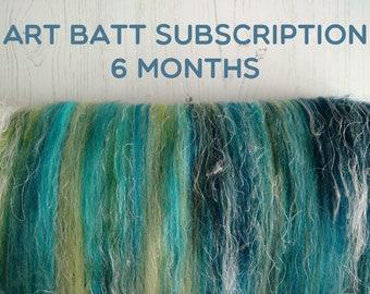 Art Batt Subscription - 6 Months - Fiber Subscription - Spinning Fibre - Felting - Felt Making - Art Batt - Carded Batts - Art Yarn Spinning