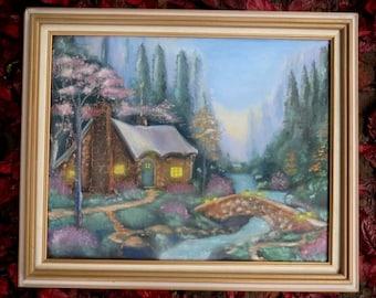 Vintage Original Acrylic Kinkade Style Cottage Stream Bridge Painting 16x20 Framed
