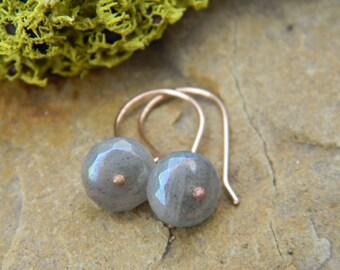 Labradorite on Rose Gold Earrings -  14k gold filled earwires