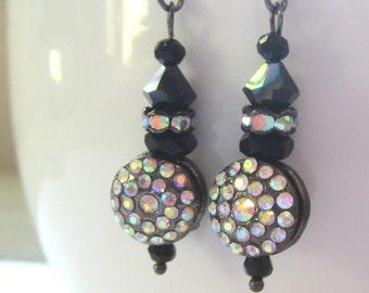 AB Clear Rhinestone Earrings.  Clear Rhinestone and AB Black Crystal Earrings.  Rhinestone Earrings.