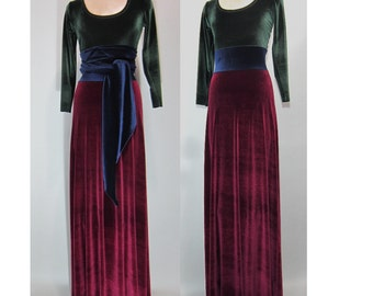 Velvet maxi dress, Emerald Green Scoop Neck with sapphire blue sash & midriff extra long  fitted sleeves floor length ruby wine skirt bottom