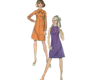 60s Princess Seam Dress pattern Pussy Bow vintage 36-28-38  SALE Mini Dress Pattern Aline Dress pattern Fit and Flare Dress simplicity 7239