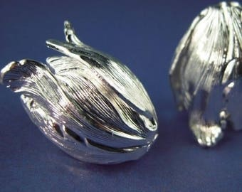 25% OFF SALE Brass 22mm Tulip Sterling Silver Plated - 2 Pack (G - 407)