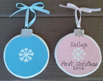 Baby's First Christmas Personalized Ornament handpainted wood Boy or Girl