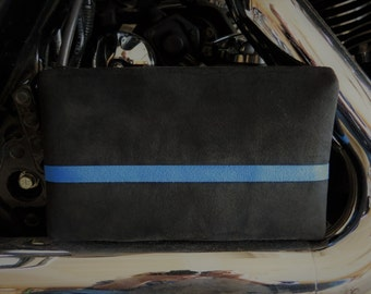 Thin Blue Line Police Zippered Cosmetic Bag Ultra Suede