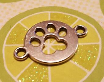 Paw Print Charms - 50 pcs. - Paw Print Links - Silver Paw Prints - Silver Dog Charms - Cat Charms --  Dog Paw Charm  - Cat Paw Charm
