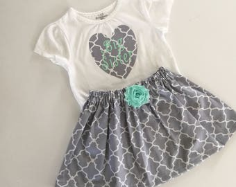 Big sister outfit ... mint aqua and grey
