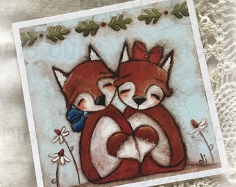 New!  STUDIO DUDA ART mini print/frameable greeting card  on velvety bright paper - Fox Love  - 5.25x5.25 print