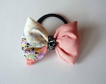 Silk Kimono Hair Accessory, Elegant Ponytail Holder, Asian Handmade Gift Idea, No Glue No Damage Elastic