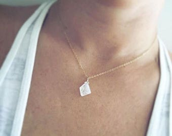 Geometric Moonstone Necklace