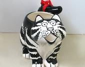 Vintage Kliban Cat Creamer Sigma Tastesetter, black white with red bow