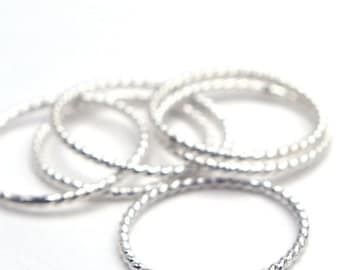 HOLIDAY SALE Twist Ring - A Single Stackable Band in Sterling Silver - Narrow Stacking Ring  Handmade by Queens Metal