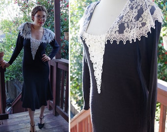 GOTHIC 1980's Does 20's Vintage Black Knit Dress w/ White Lace + Long Sleeves // size Large // by Scott McClintock // Hand Loomed