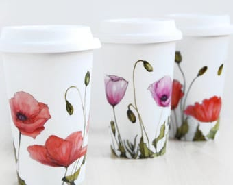 Hand Painted White Coffee Cup - Poppy | Botanical Collection