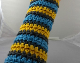 Blue, Yellow, and Gray Striped Crocheted Arm Warmers (size M-L) (SWG-AW-MJ14)