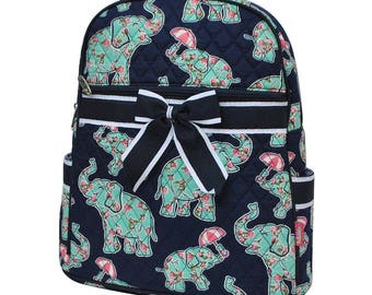 Baby Elephant Quilted Backpack - Paisley Elephant Backpack - Diaper Bag Backpack - Personalized Backpack - Monogrammed Backpack - Embroidery