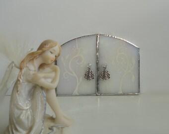 SALE, Fairy Door, Stained Glass, Winter, Garden Sculpture, Garden Art, Indoor Home Decor, Fairy Garden Assesories, Terrarium Decor, Portal