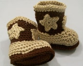 Crochet Boots, Western, Baby Cowboy Boots , Brown and Tan ,Baby Boy Gift, Baby Shower Gift, Handmade, Baby Boots, Made in the USA, #126